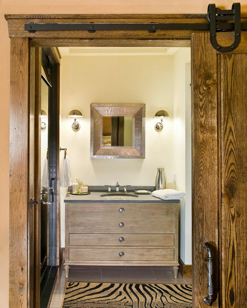 Example of a mountain style bathroom design in New York