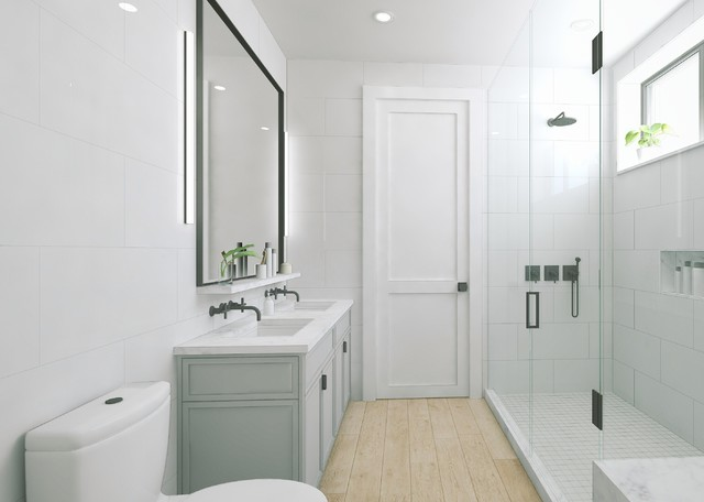 Modern timeless brooklyn carriage townhouse master bath for Townhouse bathroom ideas