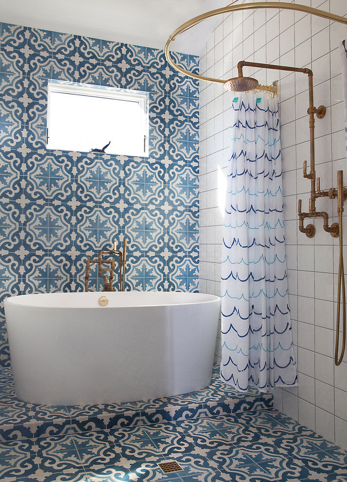 Country blue tile, multicolored tile and white tile bathroom photo in Los Angeles