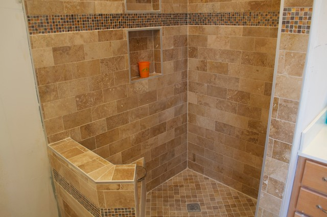modern walk in shower with bench