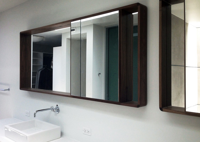 Modern walnut framed mirror midcentury bathroom orange county by moss yaw design studio for Bathroom mirrors orange county