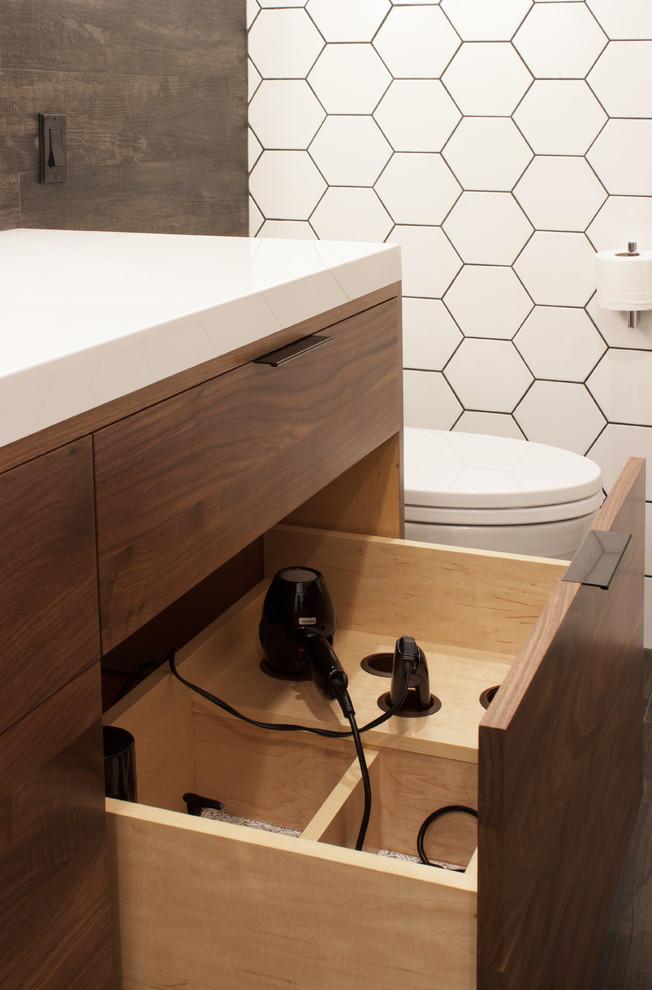Modern Walnut Vanity Modern Bathroom New York By Rylex Custom Cabinetry And Closets Houzz