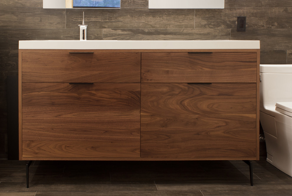 Modern Walnut Vanity Modern Bathroom New York By Rylex Custom Cabinetry And Closets Houzz
