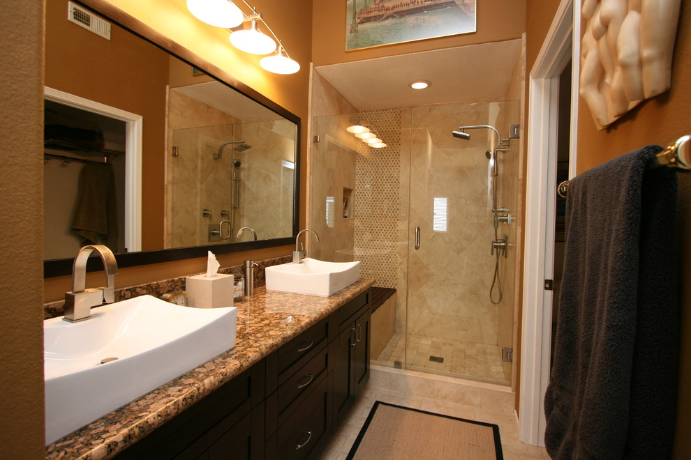 Modern Warm Master Bath with Double Vanity in Huntington ...