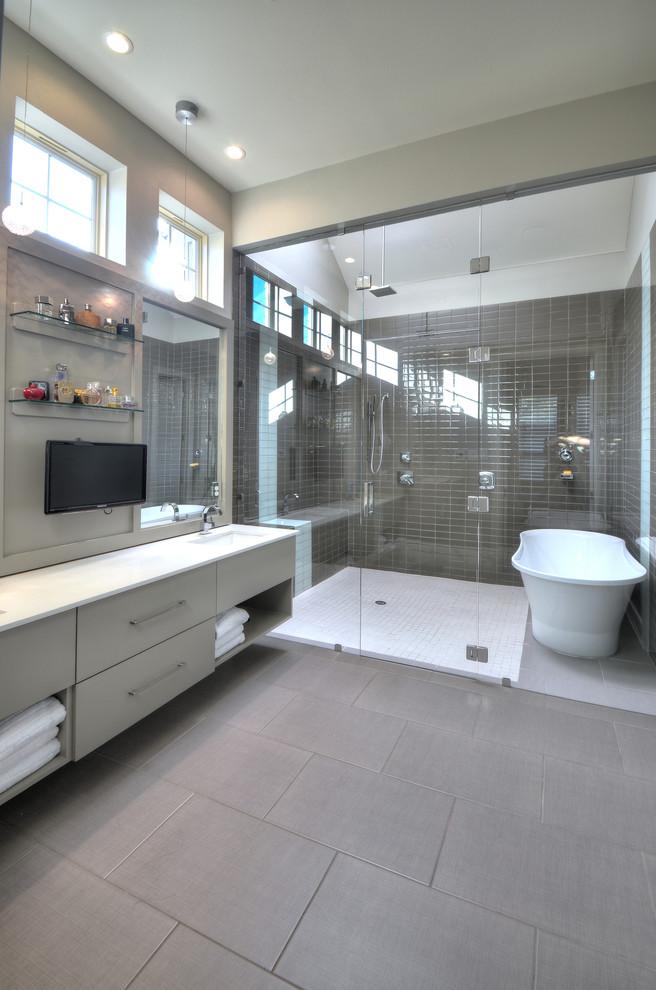Example of a trendy freestanding bathtub design in Dallas