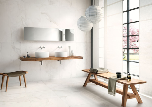 Example of a large minimalist master white tile and porcelain tile porcelain floor and white floor bathroom design in Miami with white walls, wood countertops and a vessel sink