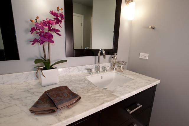 Modern white marble bathroom transitional bathroom for Bathroom showroom chicago