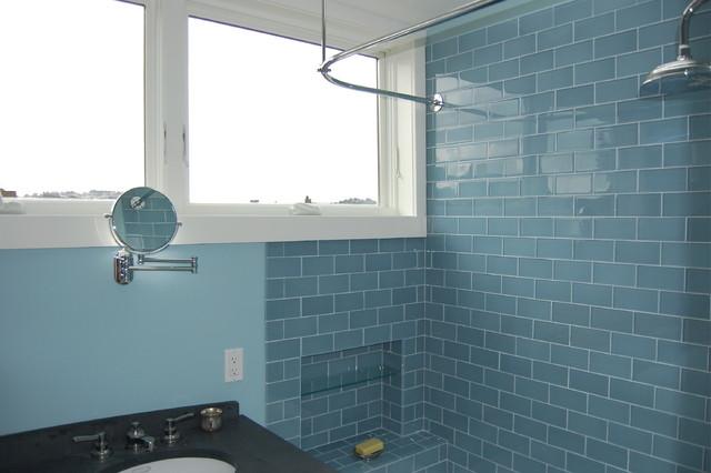 Modwalls Lush 3x6 Rain Glass Subway Tile Eclectic Bathroom