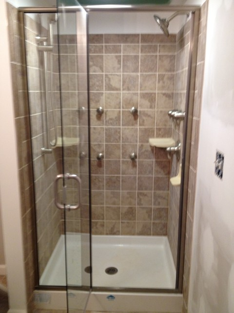 Moen 4 spray head Tiled shower - Bena, Maryland - Traditional - Bathroom - other metro - by Lowe ...