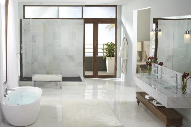 Moen Align Modern Open Concept Bathroom Contemporary