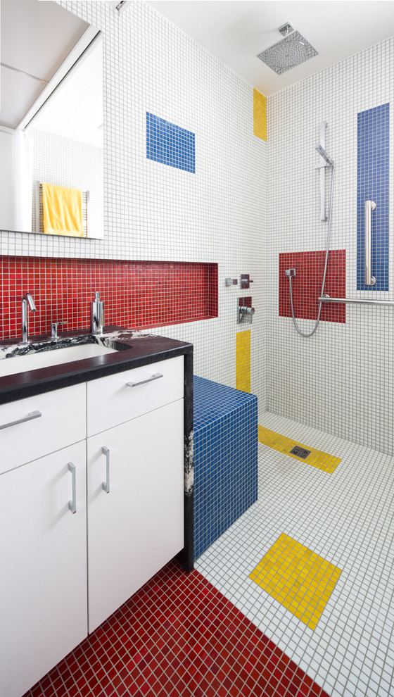 Example of a trendy multicolored tile and mosaic tile mosaic tile floor bathroom design in Other with an undermount sink, flat-panel cabinets, white cabinets, multicolored walls and marble countertops
