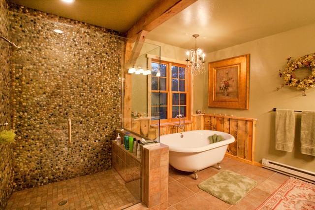 Montana Lodge Themed Barn Home Traditional Bathroom