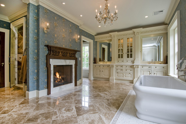 Bathroom - huge traditional master marble floor and beige floor bathroom idea in Newark with furniture-like cabinets, beige cabinets, blue walls, an undermount sink, marble countertops and a hinged shower door