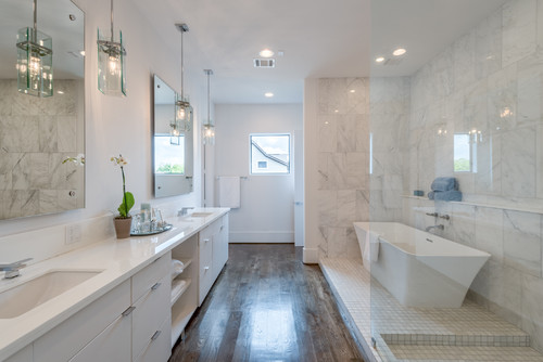 His and Hers Vanities and Sinks in Bathroom Remodel in Aurora IL