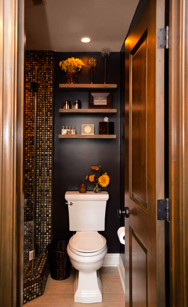 Corner shower - small mediterranean 3/4 multicolored tile and ceramic tile porcelain tile and beige floor corner shower idea in Los Angeles with open cabinets, medium tone wood cabinets, a two-piece toilet, brown walls, a vessel sink and a hinged shower door