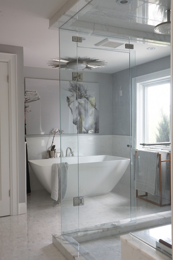 Inspiration for a transitional freestanding bathtub remodel in Toronto