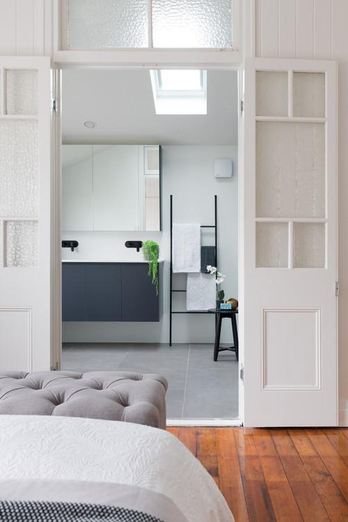 door opening to bathroom vanity