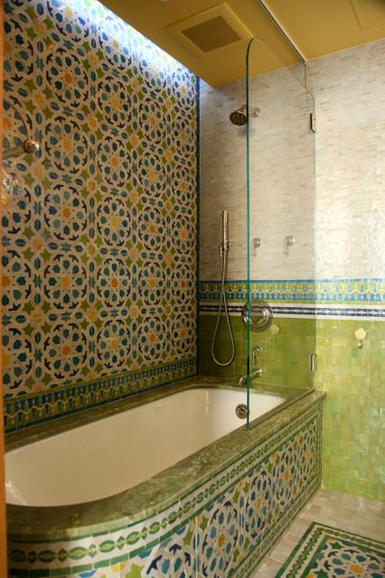 Moroccan bathrooms mediterranean bathroom new york for Moroccan bathroom design