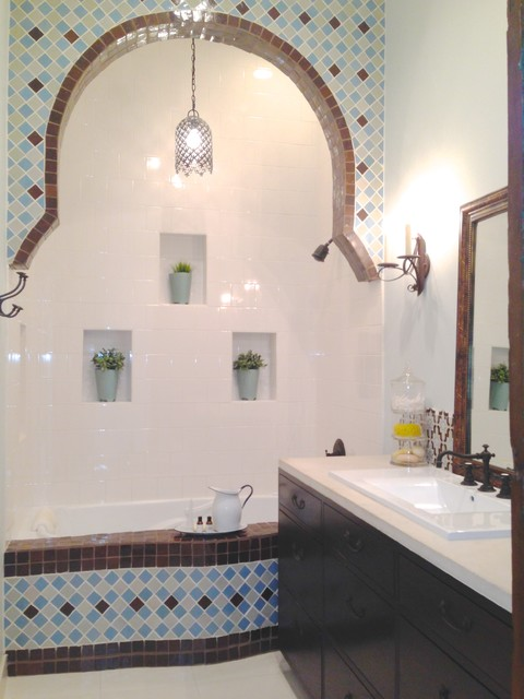 Moroccan Inspired Bathroom Transitional Bathroom Other By Estrada Design Consulting