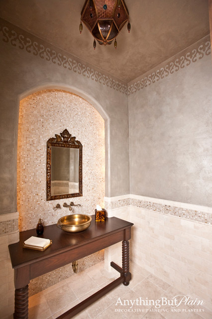 Moroccan Inspired Powder Room Mediterranean Bathroom