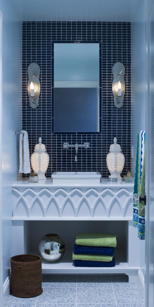 Bathroom - eclectic bathroom idea in Minneapolis with a vessel sink