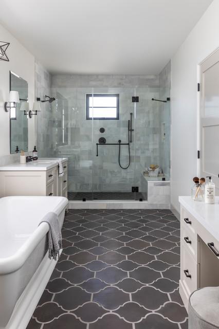Moroccan Spanish Influenced California Master Bath ... on spanish style bathroom, spanish revival bathroom master, mexican tile bathroom designs,