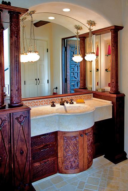 Moroccan vanity santa fe nm mediterranean bathroom albuquerque by statements in tile for Mediterranean bathroom lighting