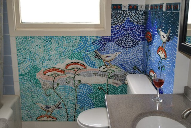 24 Mosaic Bathroom Ideas Designs: Birds & Flowers