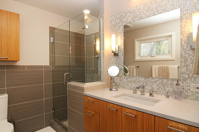 Mosaic Glass Tile Back Splash Vanity Contemporary Bathroom Richmond