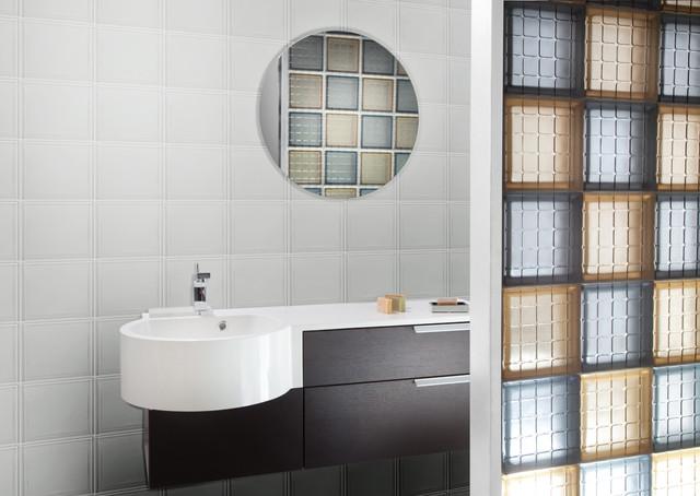 Mosaic Glass Tile Block Bathroom Partition Wall - Glass partition wall for bathroom