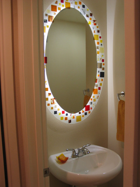 Mosaic Mirror Back Lighted With White Neon Tubing