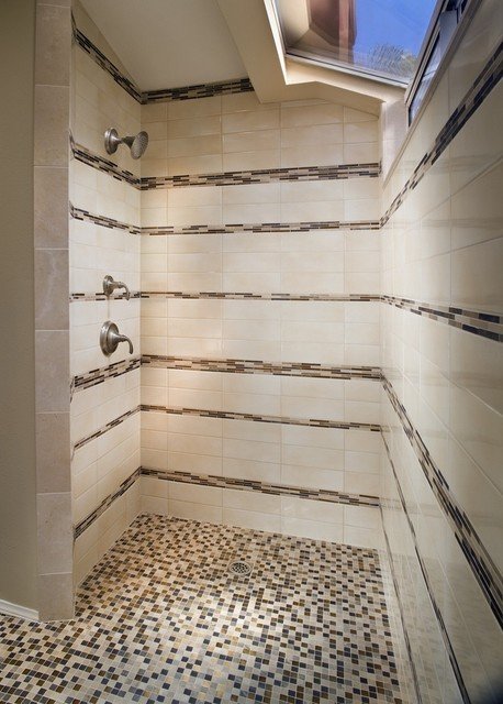 Mosaic Striped Shower Contemporary Bathroom New York