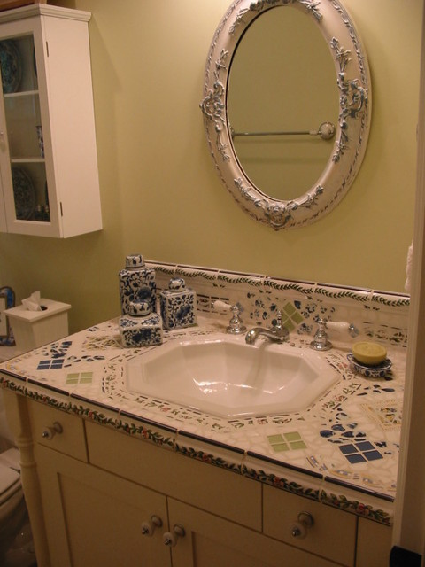 Mosaic tile vanity counter top traditional bathroom for Tile countertops bathroom ideas
