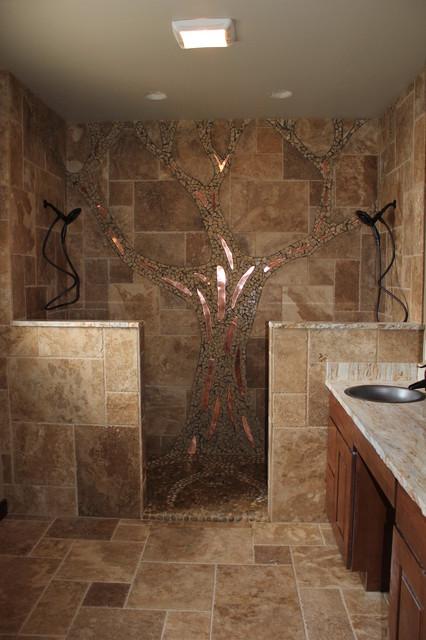Mosaic Tree in Shower craftsman-bathroom