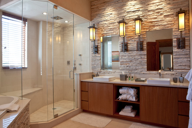 Mountain Contemporary Cabin Contemporary Bathroom