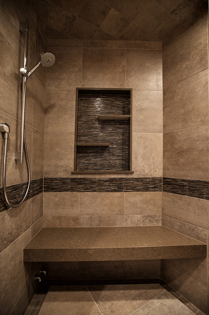 Mountain home shower rustic bathroom denver by yk for Rustic tile bathroom ideas