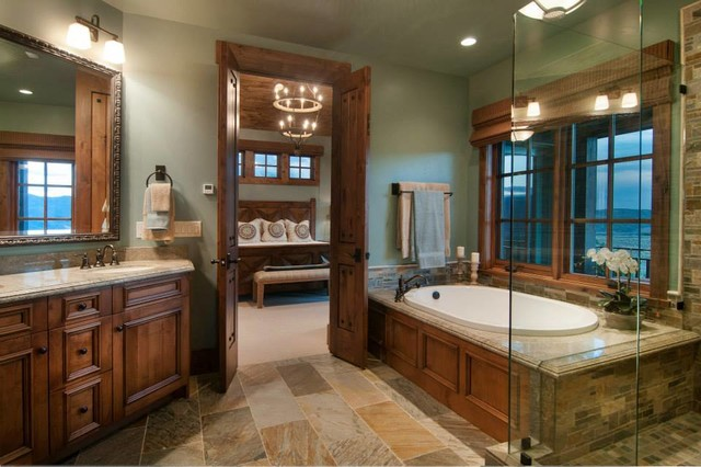 Mountain Home Tuhaye Park City UT Rustic Bathroom