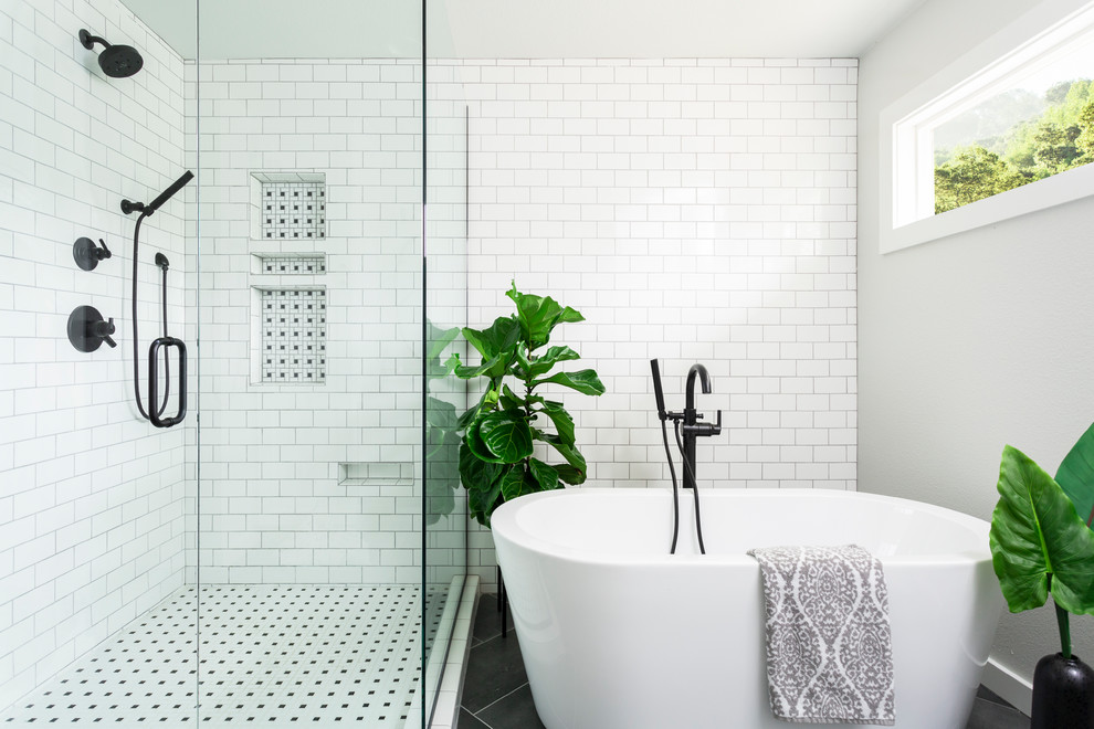 Transitional master white tile and subway tile black floor bathroom photo in Denver with white walls and a niche