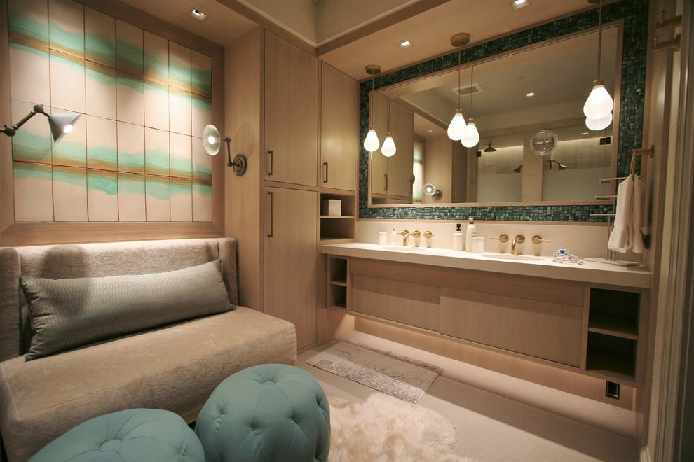 Inspiration for a mid-sized modern master porcelain tile bathroom remodel in Denver with flat-panel cabinets, an undermount sink, light wood cabinets, beige walls and solid surface countertops