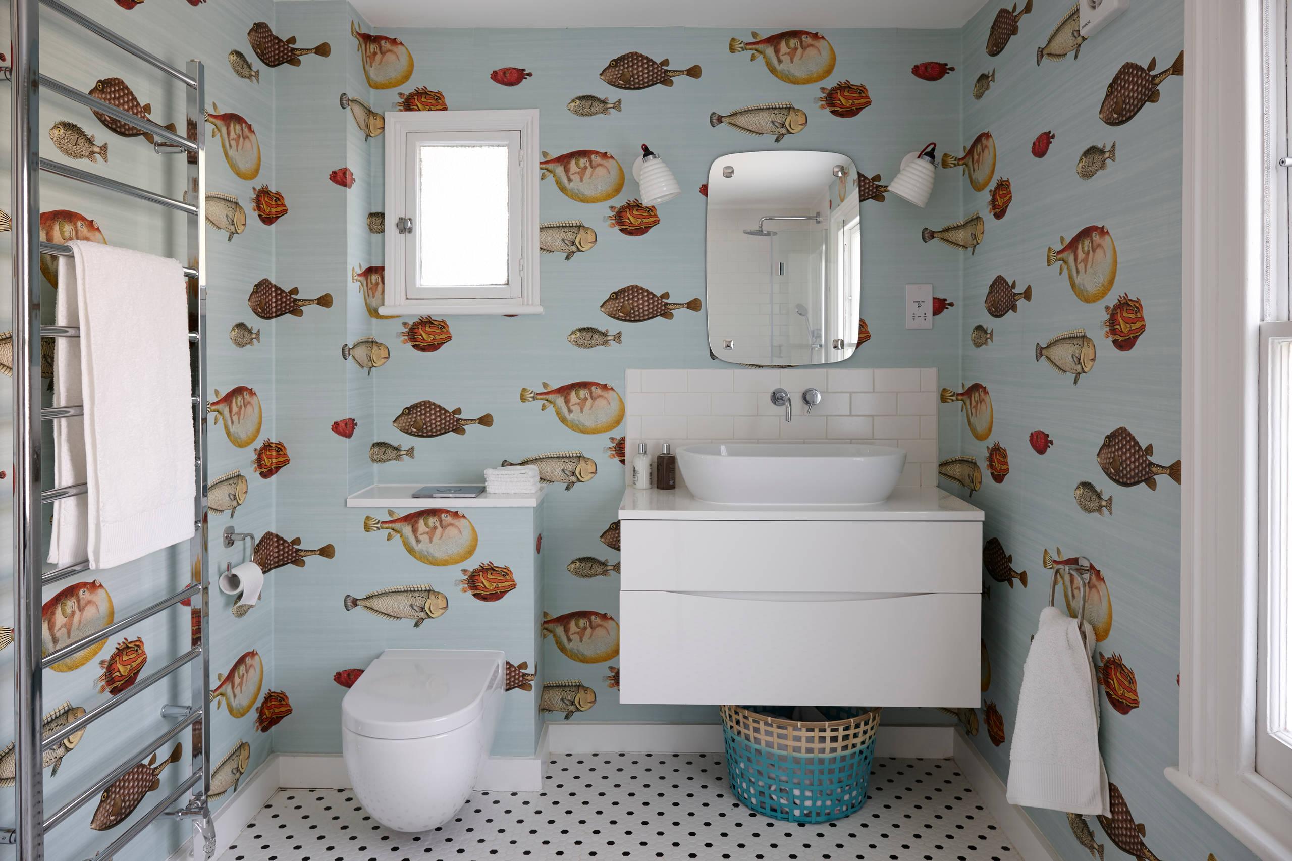 Fish Wallpaper Houzz, Fish Wallpaper For Bathroom