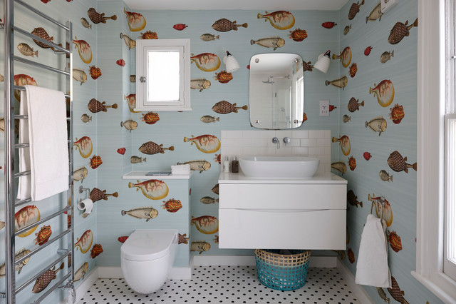 Inspiration For A Mid Sized Eclectic Kidsu0027 White Tile And Subway Tile  Ceramic Floor