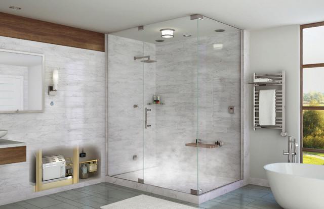 Beautiful Mr. Steam Shower In Residential Bathroom With Towel Warmer Contemporary  Bathroom