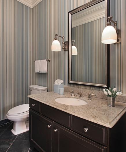 Mud Room Bathroom Spruced Up With Striped Wallpaper Slate Floors Traditional Bathroom