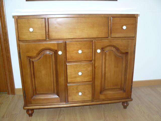Mueble de ba o de madera maciza r stico cuarto de ba o - Cuarto bano rustico ...