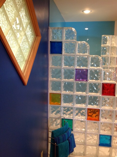 Multi Colored Glass Block Wall And Diamond Shaped Window Contemporary Bathroom Columbus