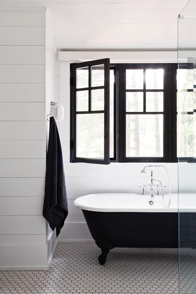Inspiration for a coastal porcelain tile porcelain tile bathroom remodel in Toronto
