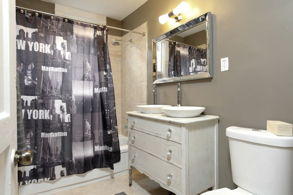 Bathroom - eclectic beige tile bathroom idea in Toronto with a vessel sink, furniture-like cabinets, white cabinets, wood countertops and white countertops