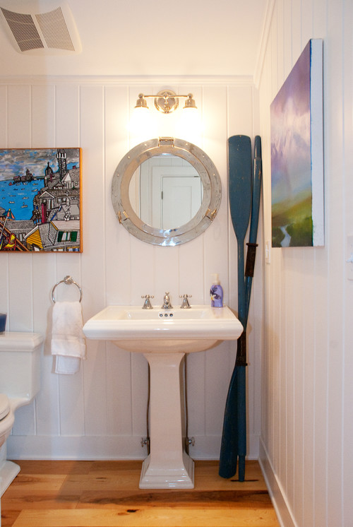 nautical bathroom oars porthole mirror