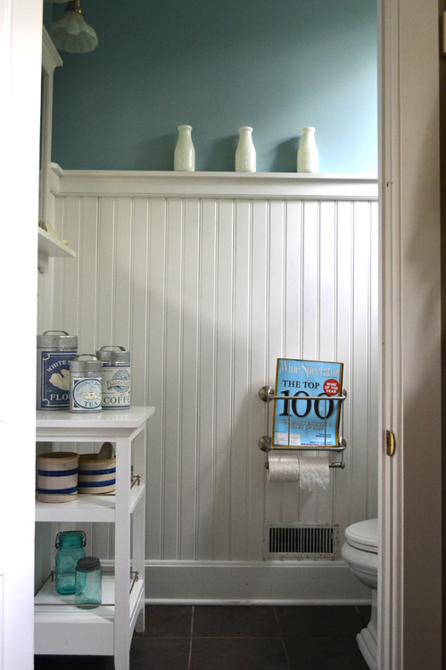What is the material of the beadboard wainscoting and is it water – Beadboard Paneling in Bathroom