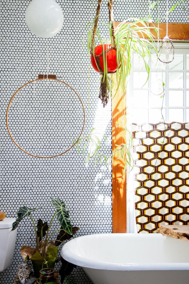 Bathroom - mid-sized eclectic master ceramic tile bathroom idea in Portland
